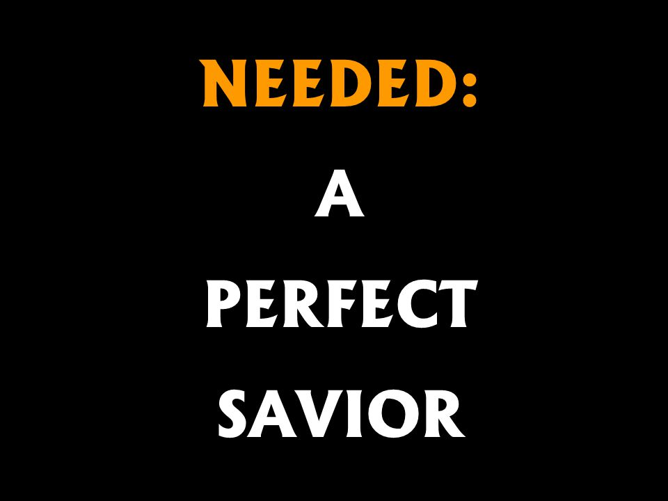 NEEDED: A PERFECT SAVIOR