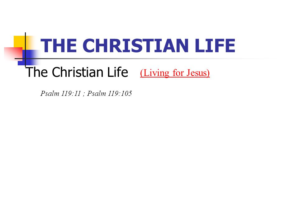 THE CHRISTIAN LIFE The Christian Life (Living for Jesus) Psalm 119:11 ; Psalm 119:105