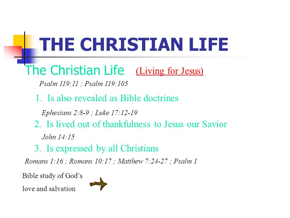 THE CHRISTIAN LIFE The Christian Life 1. Is also revealed as Bible doctrines (Living for Jesus) 3.