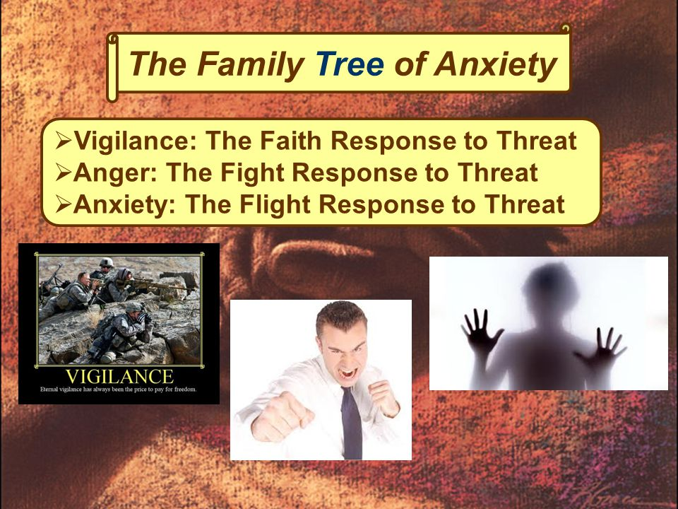 The Family Tree of Anxiety  Vigilance: The Faith Response to Threat  Anger: The Fight Response to Threat  Anxiety: The Flight Response to Threat