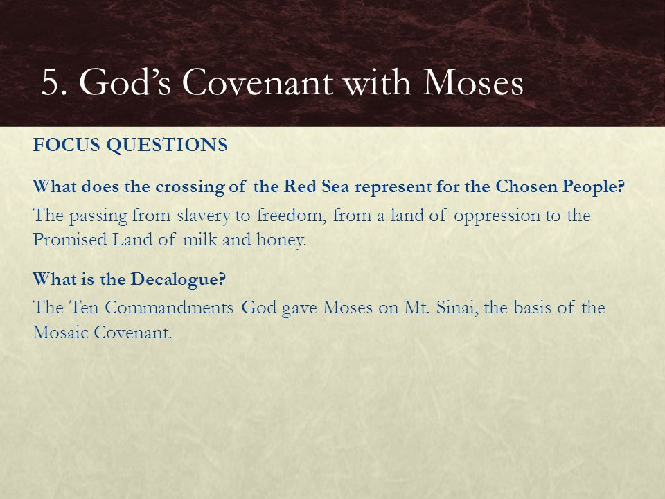 What does the crossing of the Red Sea represent for the Chosen People.