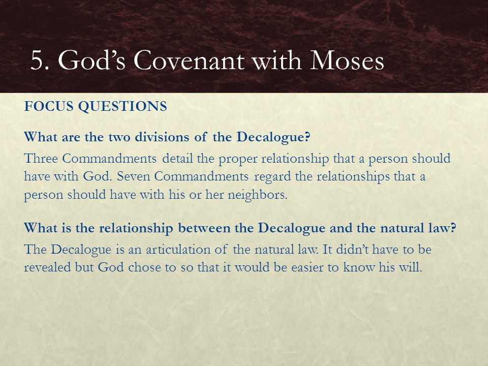 What are the two divisions of the Decalogue.