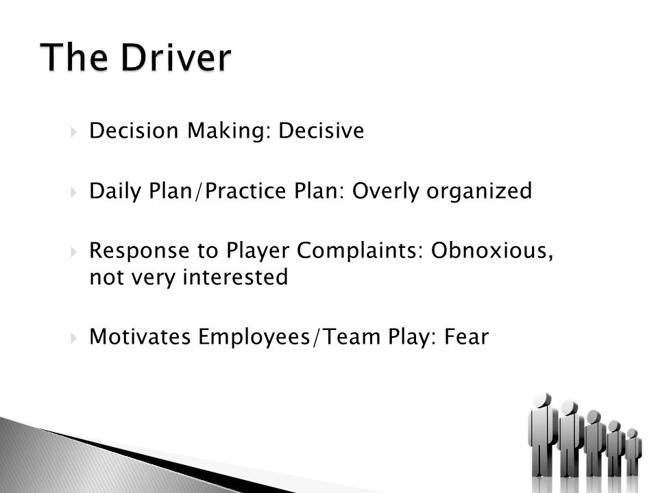  Decision Making: Decisive  Daily Plan/Practice Plan: Overly organized  Response to Player Complaints: Obnoxious, not very interested  Motivates Employees/Team Play: Fear