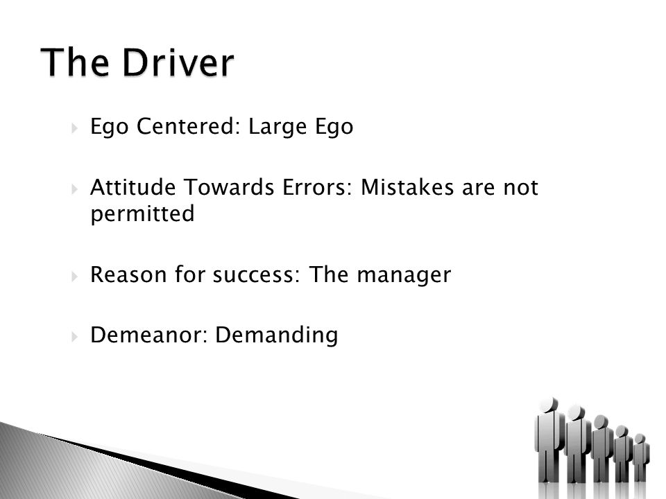  Ego Centered: Large Ego  Attitude Towards Errors: Mistakes are not permitted  Reason for success: The manager  Demeanor: Demanding