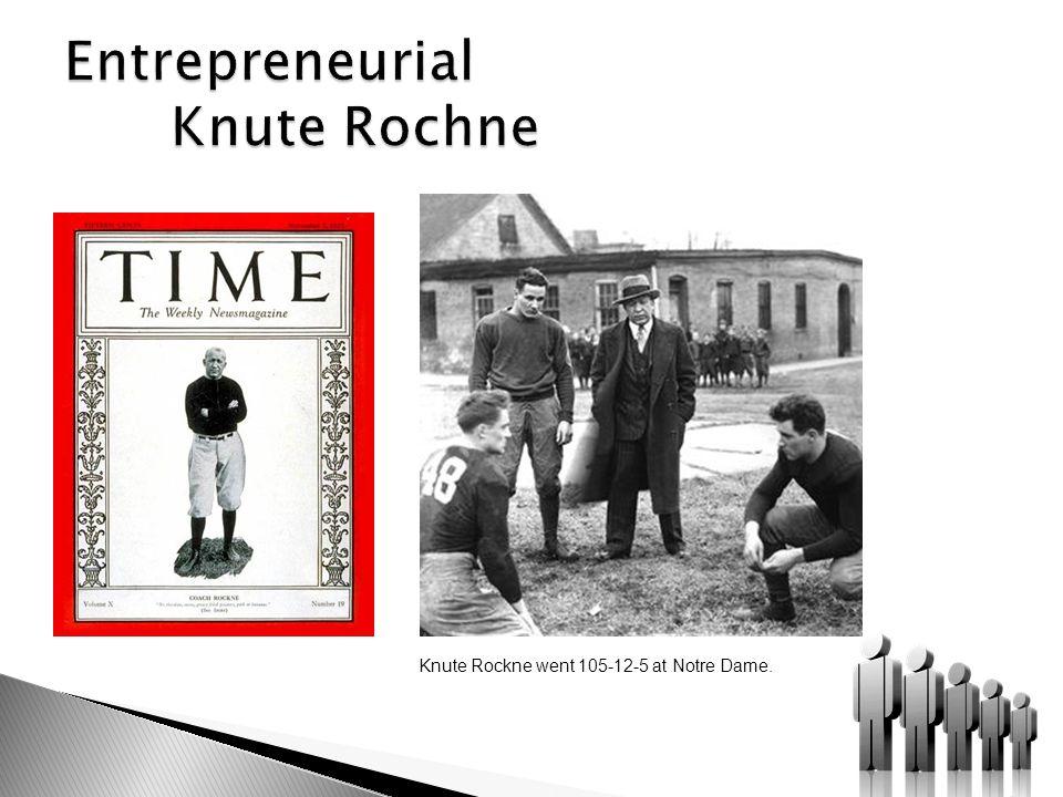 Knute Rockne went 105-12-5 at Notre Dame.