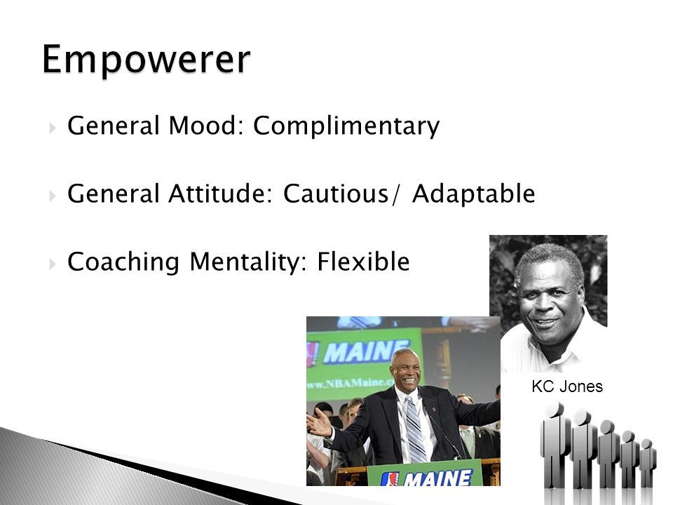  General Mood: Complimentary  General Attitude: Cautious/ Adaptable  Coaching Mentality: Flexible KC Jones