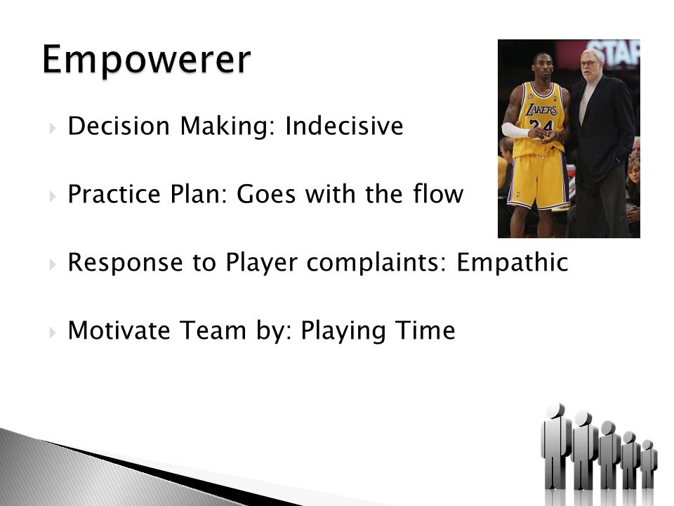  Decision Making: Indecisive  Practice Plan: Goes with the flow  Response to Player complaints: Empathic  Motivate Team by: Playing Time
