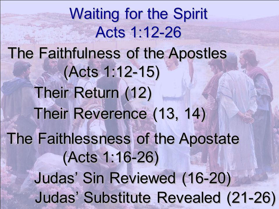 Waiting for the Spirit Acts 1:12-26 Waiting for the Spirit Acts 1:12-26 The Faithfulness of the Apostles (Acts 1:12-15) The Faithfulness of the Apostl