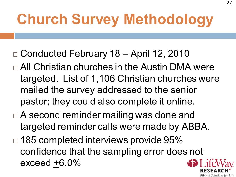 27 Church Survey Methodology  Conducted February 18 – April 12, 2010  All Christian churches in the Austin DMA were targeted.