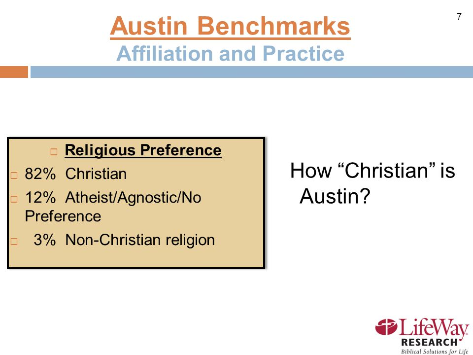 7 Austin Benchmarks Affiliation and Practice  Religious Preference  82% Christian  12% Atheist/Agnostic/No Preference  3% Non-Christian religion  Religious Preference  82% Christian  12% Atheist/Agnostic/No Preference  3% Non-Christian religion How Christian is Austin