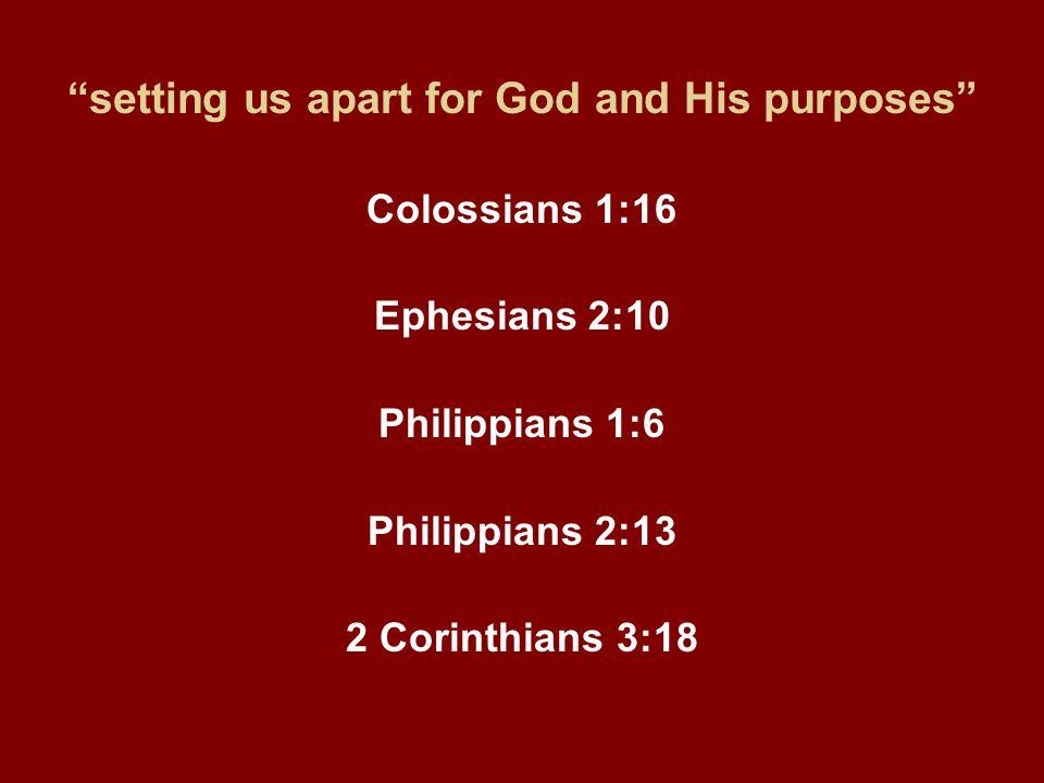 """setting us apart for God and His purposes"" Colossians 1:16 Ephesians 2:10 Philippians 1:6 Philippians 2:13 2 Corinthians 3:18"