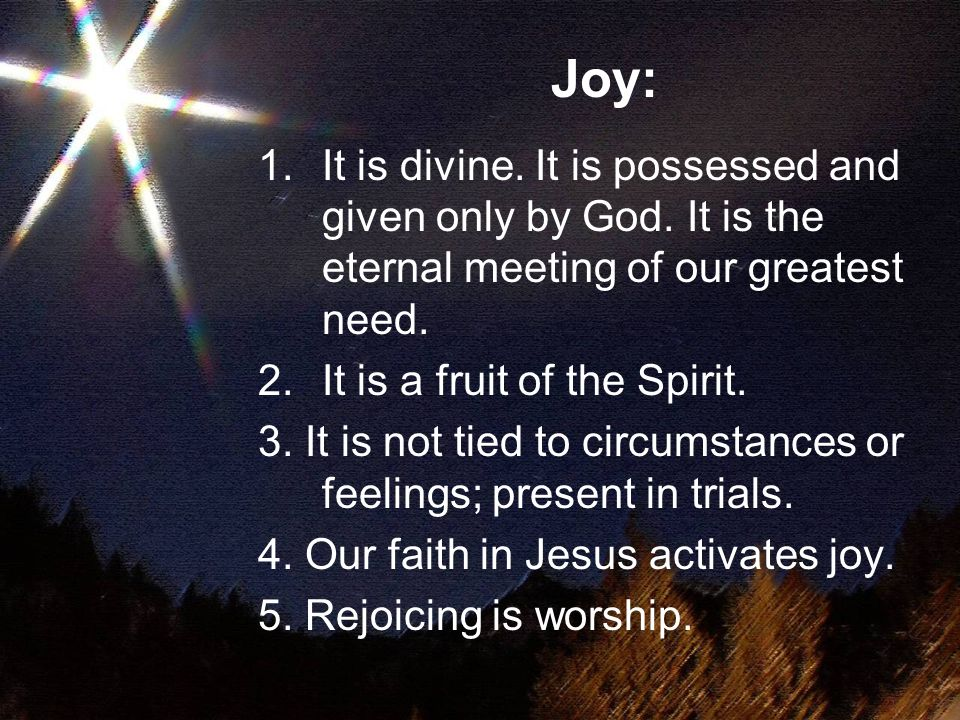 It is no accident that the words 'joy' and 'rejoice' appear particularly where there is express mention of eschatological fulfillment in Christ, of being in Him, and of hope in Him…the whole New Testament message is about the proclamation of God's saving work in Christ is a message of joy Theological Dictionary of the New Testament; p.