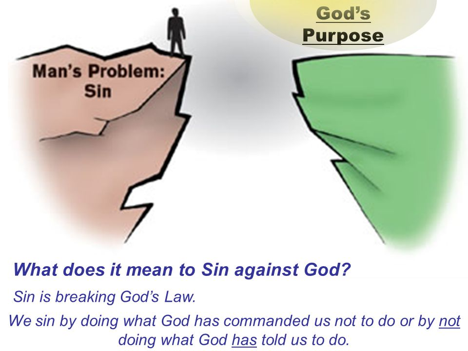 What does it mean to Sin against God.God's Purpose Sin is breaking God's Law.