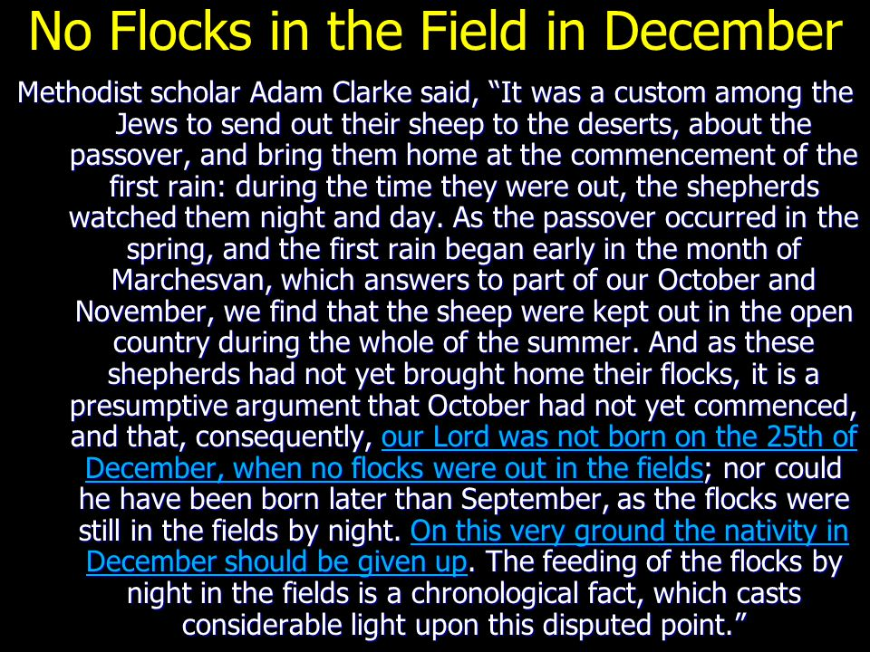 """No Flocks in the Field in December Methodist scholar Adam Clarke said, """"It was a custom among the Jews to send out their sheep to the deserts, about t"""