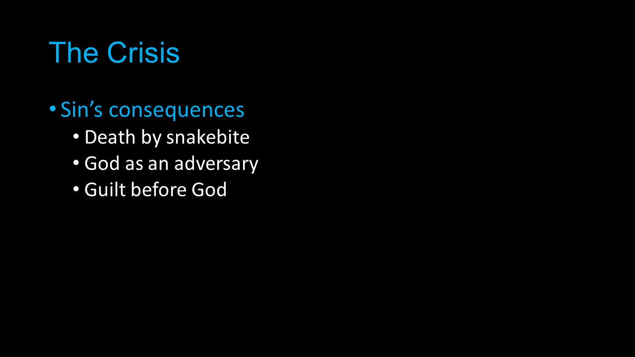 The Crisis Sin's consequences Death by snakebite God as an adversary Guilt before God