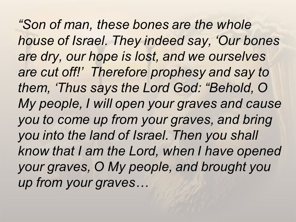 Son of man, these bones are the whole house of Israel.