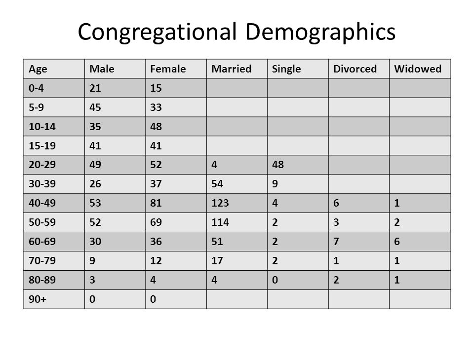 Congregational Demographics AgeMaleFemaleMarriedSingleDivorcedWidowed 0-42115 5-94533 10-143548 15-1941 20-294952448 30-392637549 40-495381123461 50-595269114232 60-69303651276 70-7991217211 80-89344021 90+00
