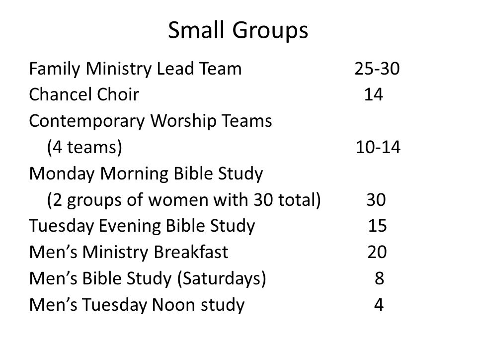 Small Groups Family Ministry Lead Team 25-30 Chancel Choir 14 Contemporary Worship Teams (4 teams) 10-14 Monday Morning Bible Study (2 groups of women