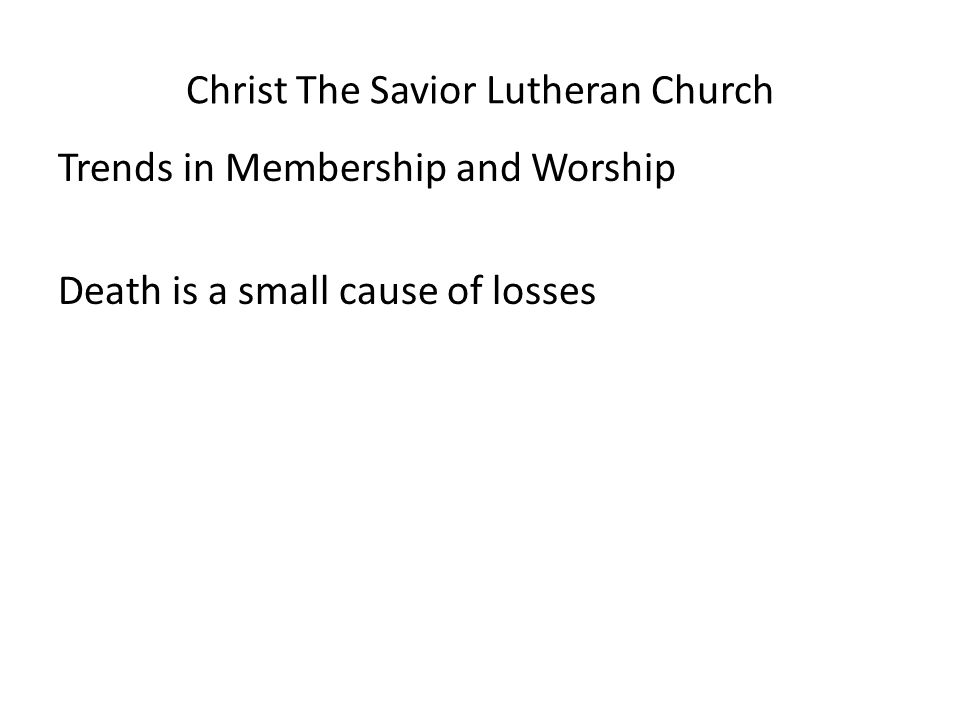 Christ The Savior Lutheran Church Trends in Membership and Worship Death is a small cause of losses