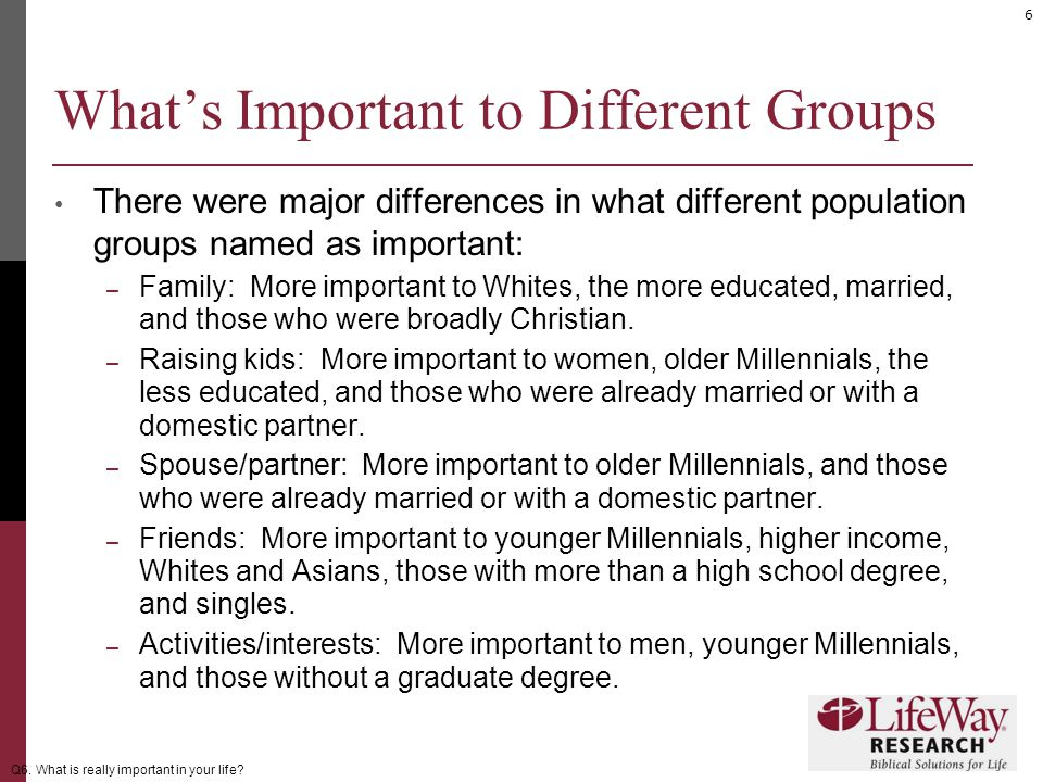 6 What's Important to Different Groups There were major differences in what different population groups named as important: – Family: More important to Whites, the more educated, married, and those who were broadly Christian.