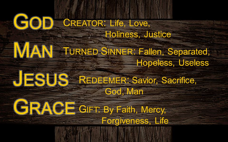 C REATOR : Life, Love, Holiness, Justice T URNED S INNER : Fallen, Separated, Hopeless, Useless R EDEEMER : Savior, Sacrifice, God, Man G IFT : By Fai