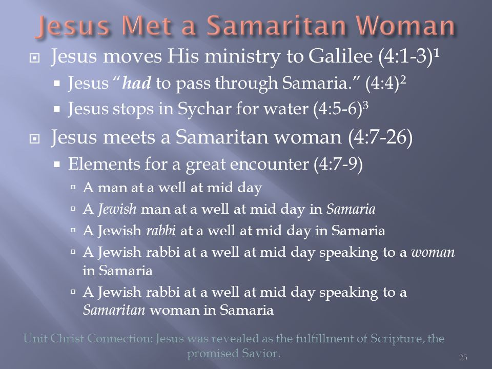  Jesus moves His ministry to Galilee (4:1-3) 1  Jesus had to pass through Samaria. (4:4) 2  Jesus stops in Sychar for water (4:5-6) 3  Jesus meets a Samaritan woman (4:7-26)  Elements for a great encounter (4:7-9)  A man at a well at mid day  A Jewish man at a well at mid day in Samaria  A Jewish rabbi at a well at mid day in Samaria  A Jewish rabbi at a well at mid day speaking to a woman in Samaria  A Jewish rabbi at a well at mid day speaking to a Samaritan woman in Samaria Unit Christ Connection: Jesus was revealed as the fulfillment of Scripture, the promised Savior.