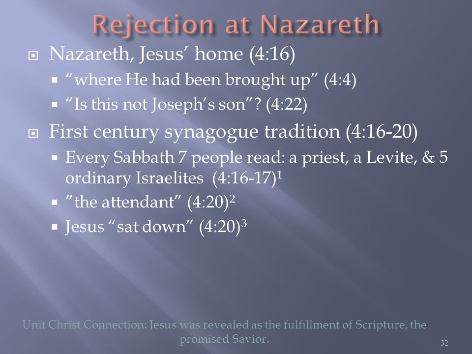  Nazareth, Jesus' home (4:16)  where He had been brought up (4:4)  Is this not Joseph's son .