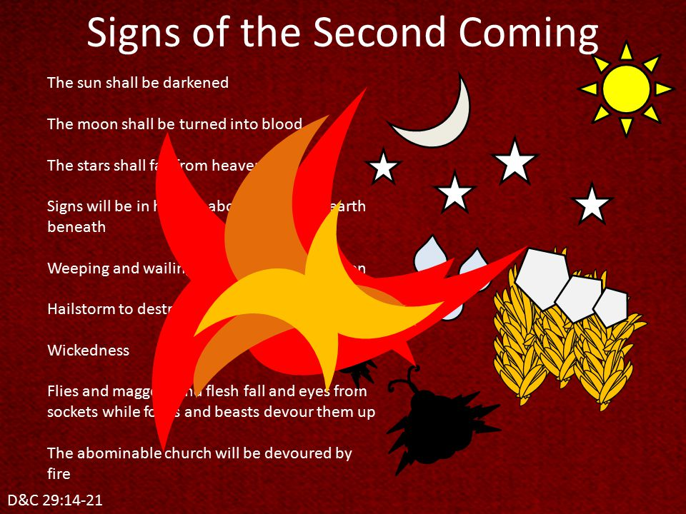 Signs of the Second Coming D&C 29:14-21 The sun shall be darkened The moon shall be turned into blood The stars shall fall from heaven Signs will be in heaven above and in the earth beneath Weeping and wailing among the hosts of men Hailstorm to destroy the crops Wickedness Flies and maggots and flesh fall and eyes from sockets while fowls and beasts devour them up The abominable church will be devoured by fire