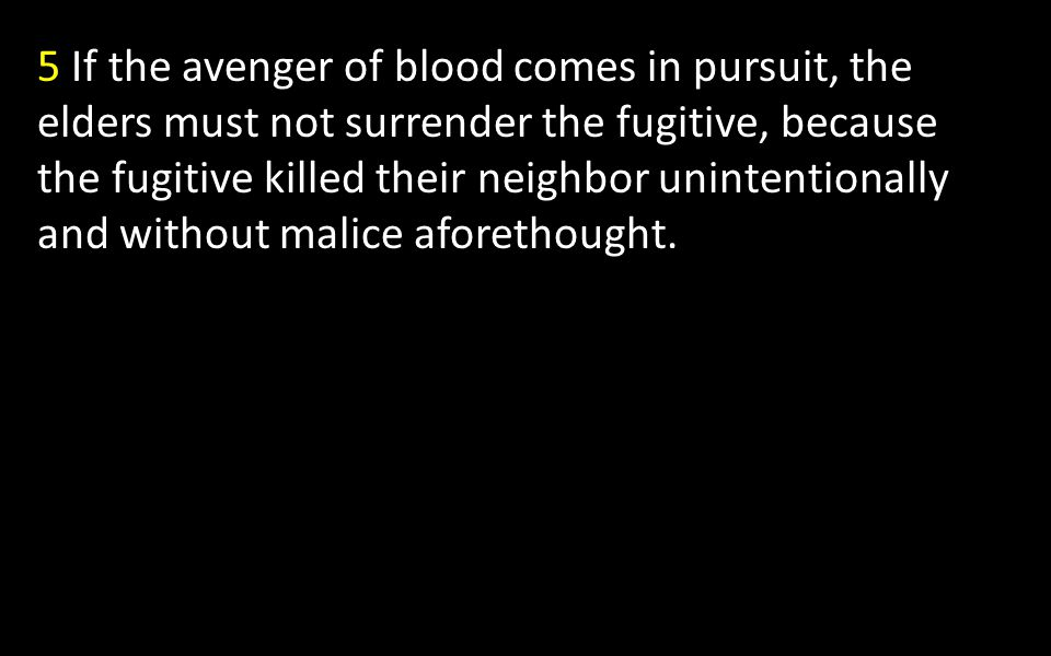 5 If the avenger of blood comes in pursuit, the elders must not surrender the fugitive, because the fugitive killed their neighbor unintentionally and without malice aforethought.