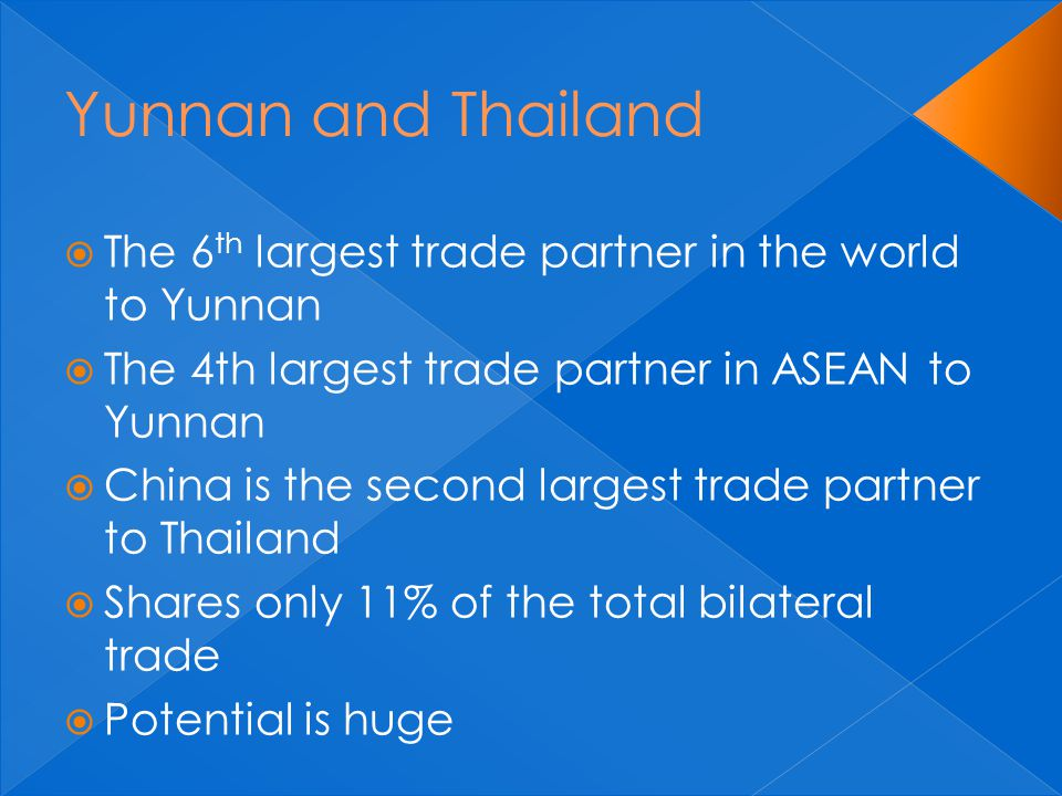  The 6 th largest trade partner in the world to Yunnan  The 4th largest trade partner in ASEAN to Yunnan  China is the second largest trade partner to Thailand  Shares only 11% of the total bilateral trade  Potential is huge