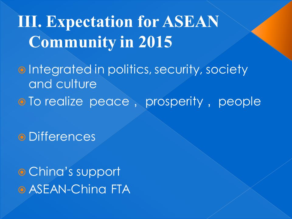  Integrated in politics, security, society and culture  To realize peace , prosperity , people  Differences  China's support  ASEAN-China FTA
