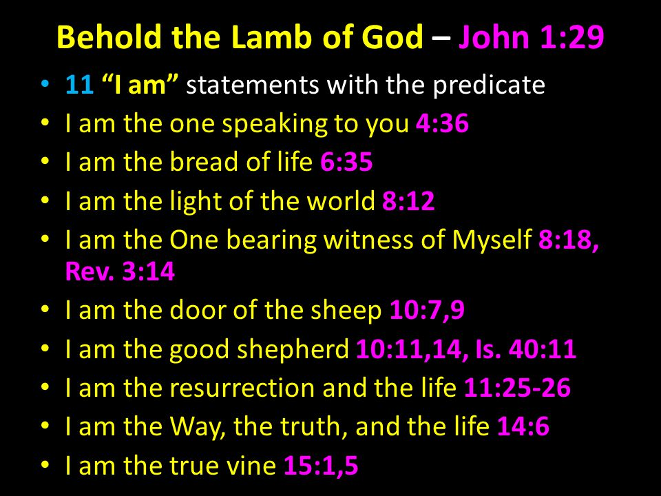 Behold the Lamb of God – John 1:29 11 I am statements with the predicate I am the one speaking to you 4:36 I am the bread of life 6:35 I am the light of the world 8:12 I am the One bearing witness of Myself 8:18, Rev.