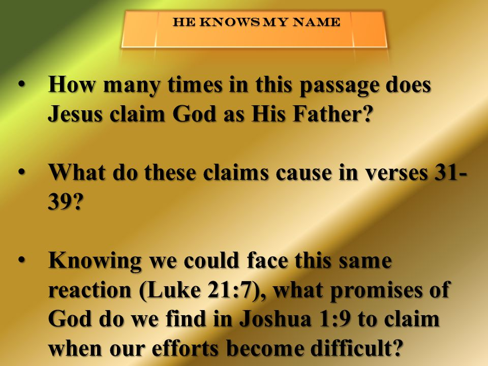 How many times in this passage does Jesus claim God as His Father.