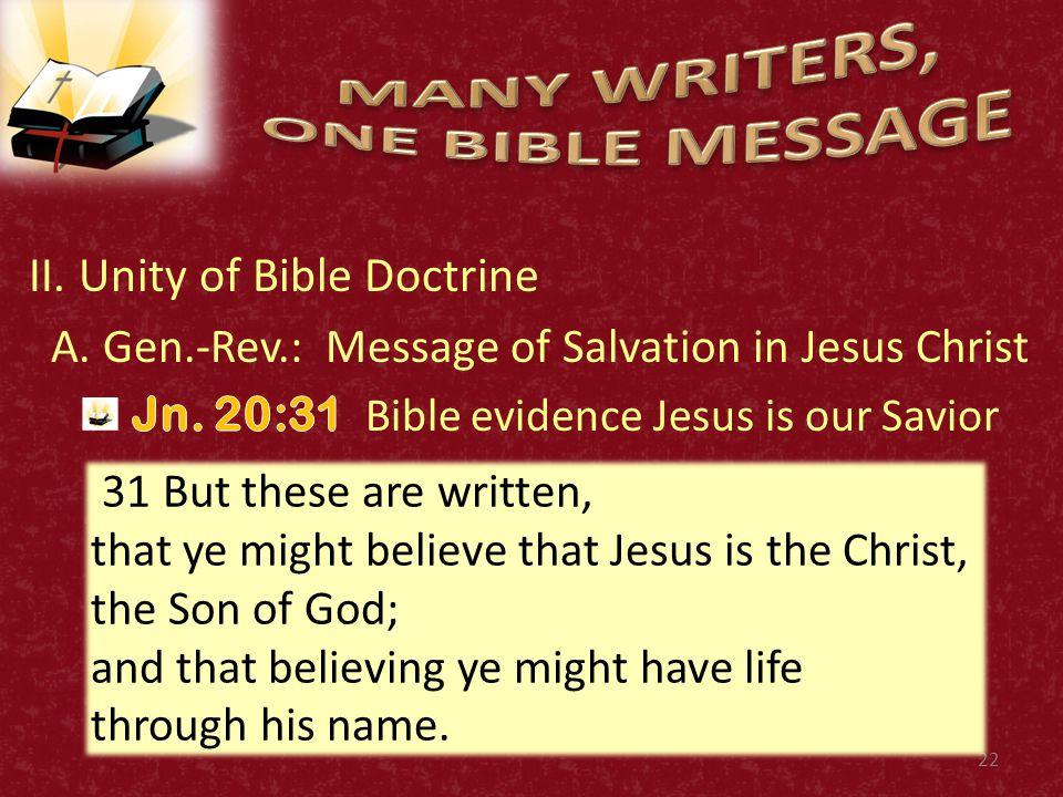 II.Unity of Bible Doctrine A.