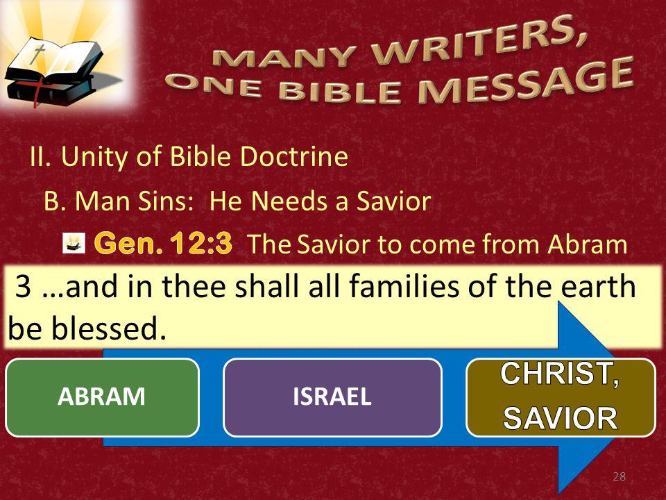 II.Unity of Bible Doctrine C. The Savior Has Come.