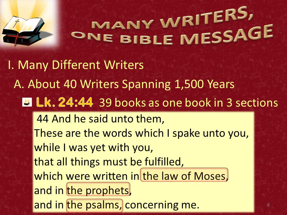 8 44 And he said unto them, These are the words which I spake unto you, while I was yet with you, that all things must be fulfilled, which were written in the law of Moses, and in the prophets, and in the psalms, concerning me.