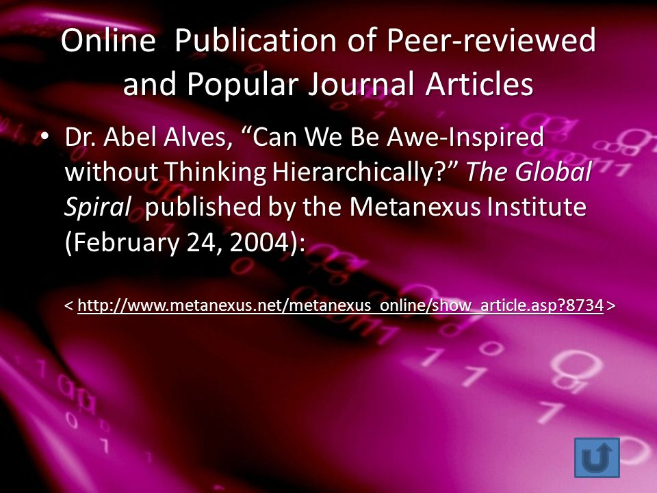 Online Publication of Peer-reviewed and Popular Journal Articles Dr.
