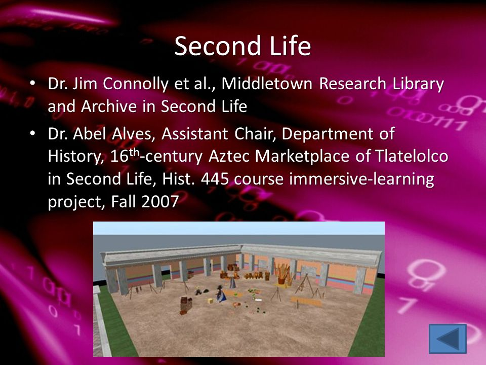 Second Life Dr. Jim Connolly et al., Middletown Research Library and Archive in Second Life Dr.