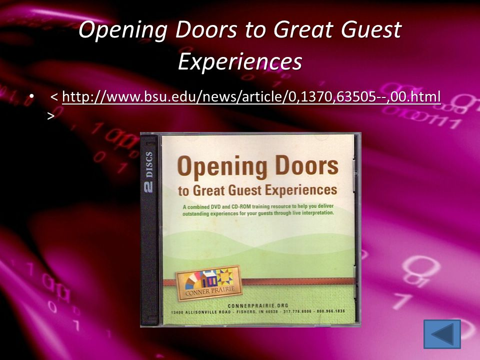 Opening Doors to Great Guest Experiences http://www.bsu.edu/news/article/0,1370,63505--,00.html