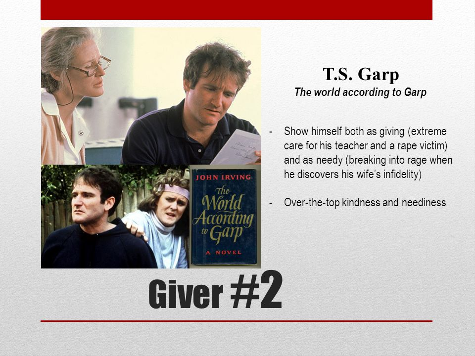 Giver #2 T.S. Garp The world according to Garp -Show himself both as giving (extreme care for his teacher and a rape victim) and as needy (breaking in