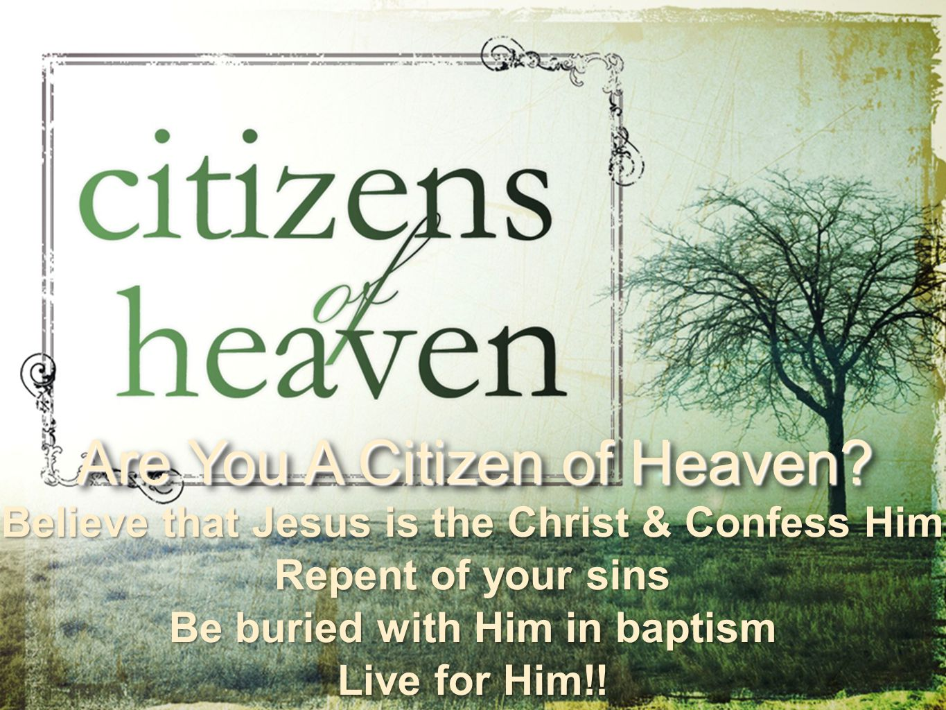 Believe that Jesus is the Christ & Confess Him Repent of your sins Be buried with Him in baptism Live for Him!.