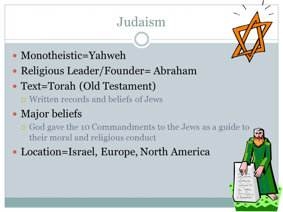 Judaism Monotheistic=Yahweh Religious Leader/Founder= Abraham Text=Torah (Old Testament)  Written records and beliefs of Jews Major beliefs  God gav