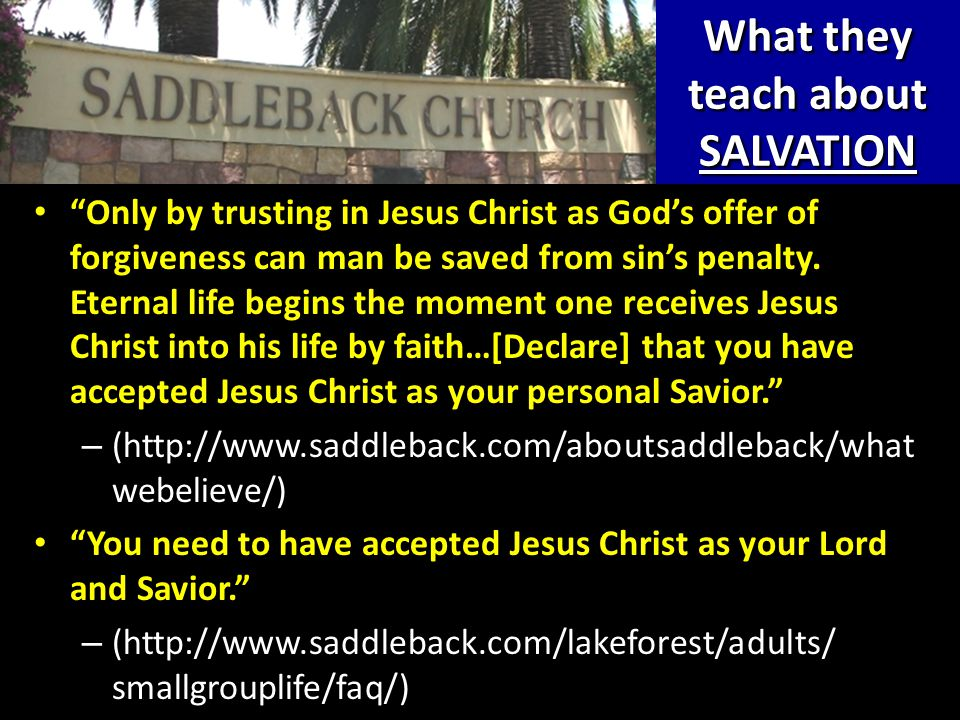 What they teach about SALVATION Only by trusting in Jesus Christ as God's offer of forgiveness can man be saved from sin's penalty.