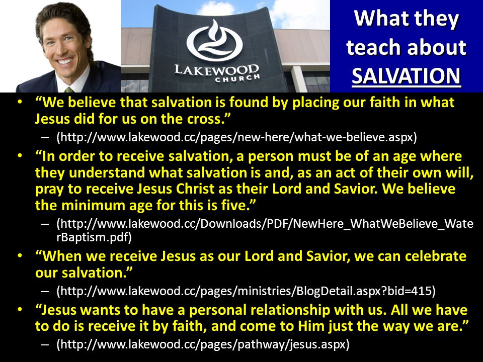 What they teach about SALVATION Salvation is by grace, a gift of God apart from works.
