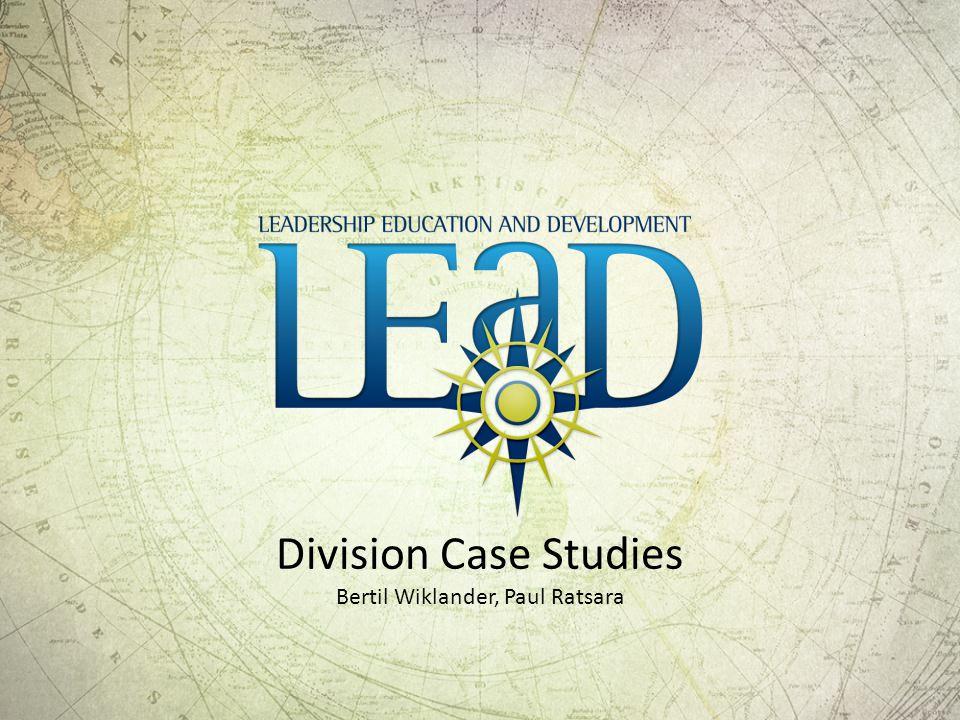 Division Case Studies Bertil Wiklander, Paul Ratsara