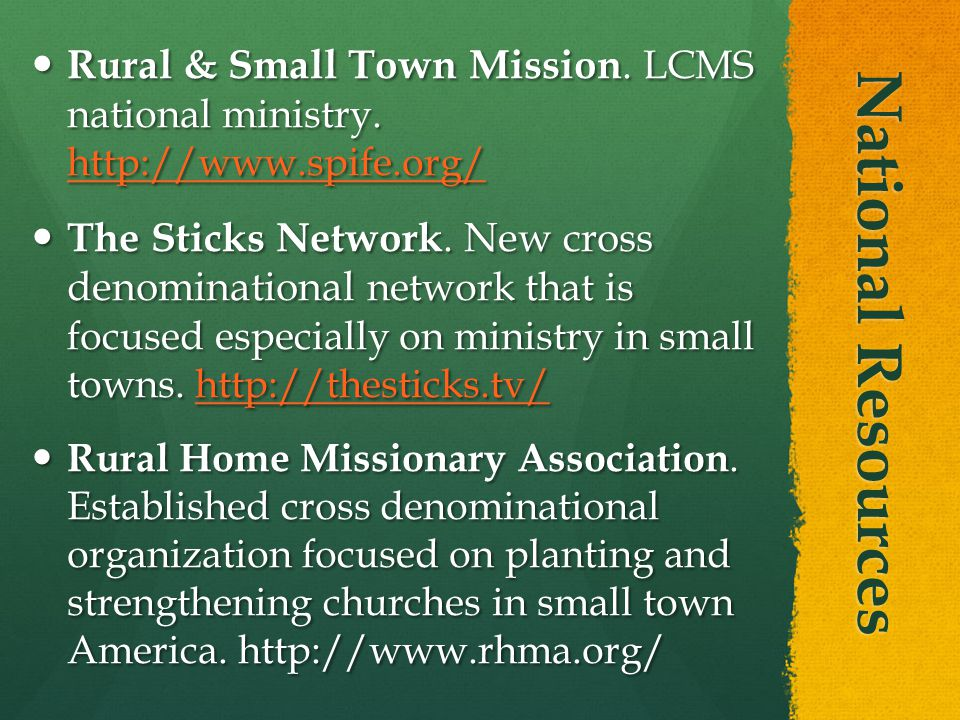 National Resources Rural & Small Town Mission. LCMS national ministry.