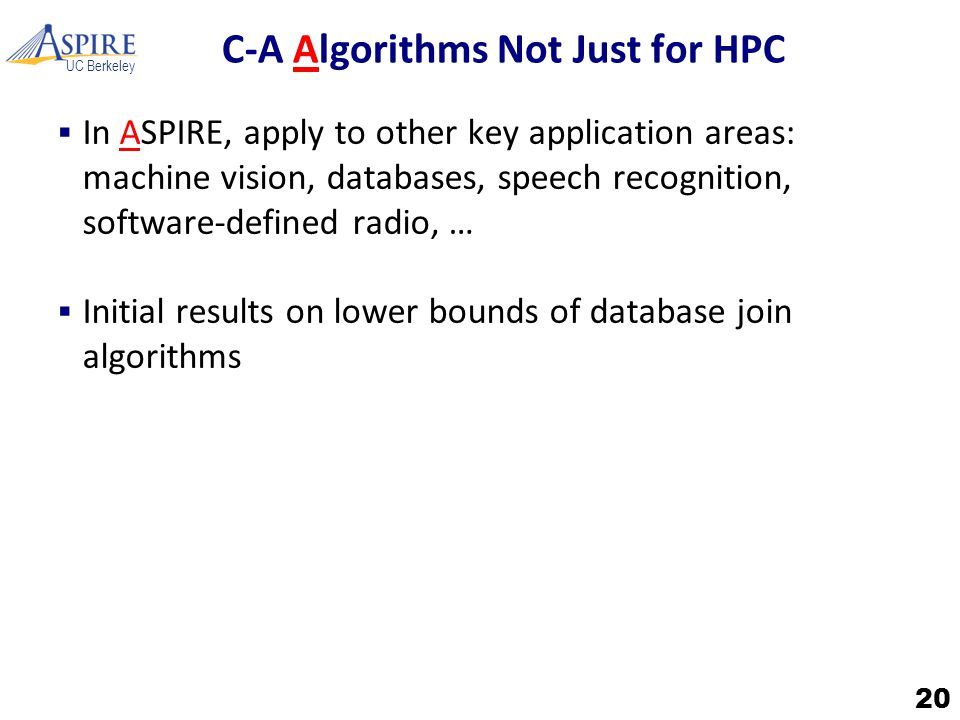 UC Berkeley C-A Algorithms Not Just for HPC  In ASPIRE, apply to other key application areas: machine vision, databases, speech recognition, software