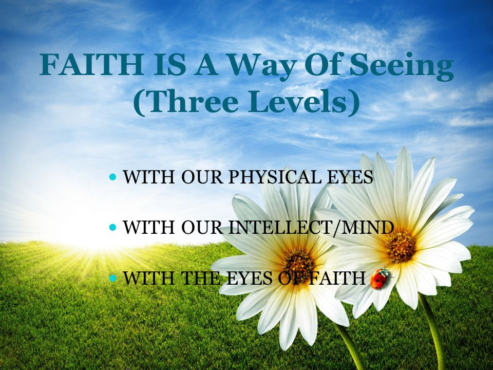 FAITH IS A Way Of Seeing (Three Levels) WITH OUR PHYSICAL EYES WITH OUR INTELLECT/MIND WITH THE EYES OF FAITH