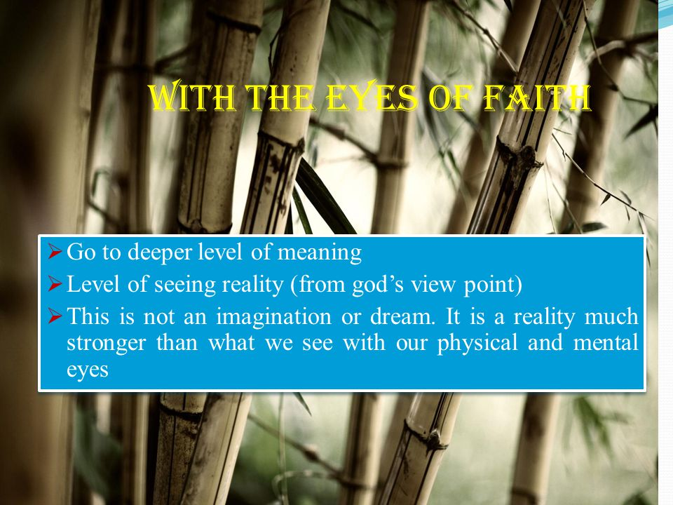 With the eyes of faith  Go to deeper level of meaning  Level of seeing reality (from god's view point)  This is not an imagination or dream. It is