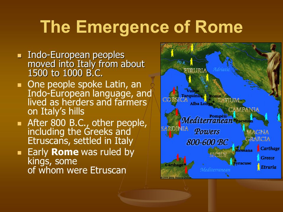 The Emergence of Rome In 509 B.C., the Romans overthrew the last Etruscan king and established a republic In a republic the leader is not a king and certain citizens have the right to vote Enemies surrounded Rome, and so the young republic began a long period of continuous warfare By 264 B.C., Rome had defeated the Greeks and remaining Etruscan states and controlled almost all of Italy